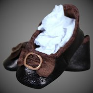 Huret Style Leather Slippers for 15 inch Huret Reproduction or Antique Doll