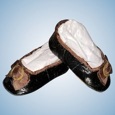 Huret-Style Leather Slippers for Antique Doll 18 inches