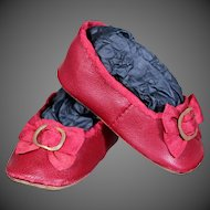 Huret-Style Red Leather Slippers for Antique Doll 18 inches