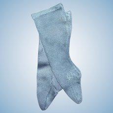 Silk French Fashion Stockings in Tiffany Blue, 14-15 inch doll