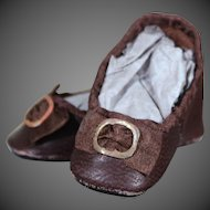 Huret Style Brown Leather Slippers for 15 inch Huret Reproduction or Antique Doll