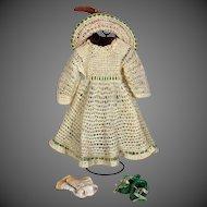 "Antique Factory Ensemble  Dress, Hat, shoes, Socks, and Set of Undies, 21"" Doll"