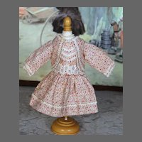 Vintage Cotton Print Dress for Bisque Doll