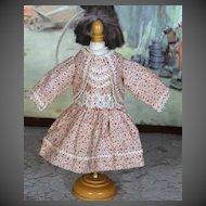 Vintage Cotton Print Dress for Bisque Doll