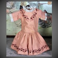 Antique 1860 Peach Wool Dress