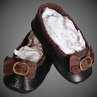 Huret-Style Leather Slippers for Antique Doll ~ 18 inches