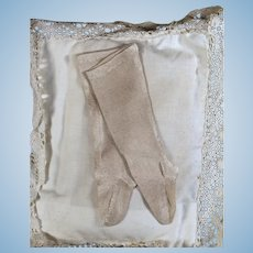 Silk French Fashion Stockings in Light Taupe, 16-18 inch doll