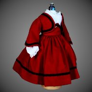 Red Wool  Swiss Dress, Jacket andLong Sleeve Chemisette for French Fashion Doll