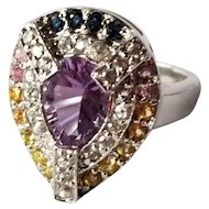 STUNNING Sterling Silver Amethyst & Fancy Colored Sapphire RIng