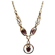 Amazing 1950's Vintage Amethyst Bracelet Necklace & Earring Set- Sterling Silver