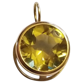 Estate 14kt Gold & Citrine Necklace Pendant