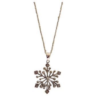 Delicate Sterling Silver & Natural Diamond Snowflake Pendant Necklace