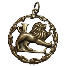 Vintage Leo Zodiac Sterling Silver Pendant