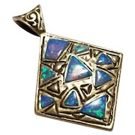 Fabulous Sterling Silver & Opal Mosaic Necklace Pendant