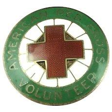 Vintage Sterling Silver and Enamel American Red Cross Volunteer Pin WWII