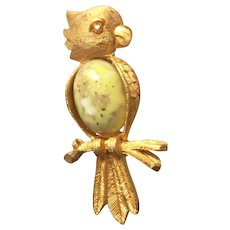 Cute Vintage Jelly Belly Parrot Bird Pin Brooch