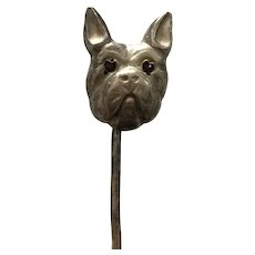 Victorian Sterling Silver French Bulldog Terrier Stickpin