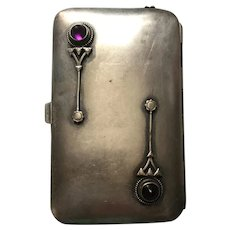 Art Deco German Silver Compact Adorned With Amethysts