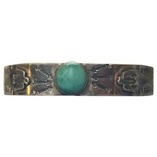 Vintage 1930's Native American Sterling and Turquoise Cuff Bracelet