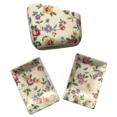Vintage 1940s English Chintz Smoking Set