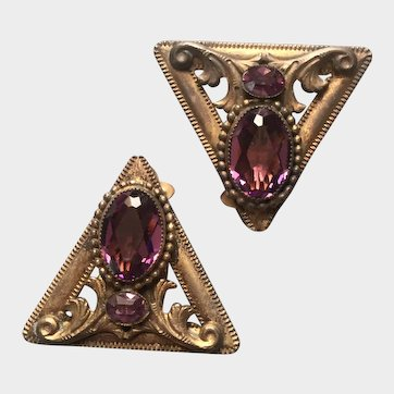 Lovely Victorian Dress/Shoe Clips with Faceted Purple Stones