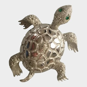 Vintage 1950 Monet Green Eyed Sea Turtle Pin Brooch