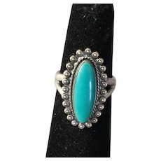 Vintage Bell Trading Sterling Silver Turquoise Ring sz 5-3/4