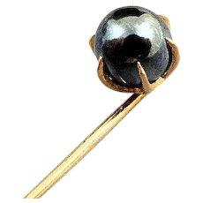 Victorian 14K Gold & 7 MM Cultured Black Pearl Stick Pin