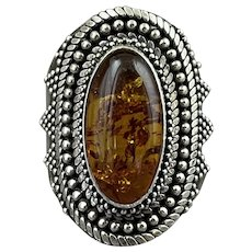 Vintage Sterling Silver Amber Pointer Ring size 8.75