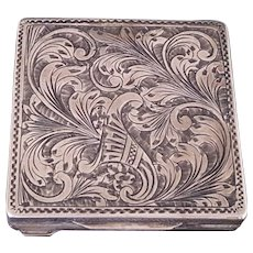Vintage 800 Silver Ornate Italian Ladies Compact