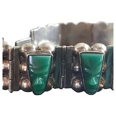 Vintage Taxco Mexican Sterling Silver and Carved Onyx Bracelet