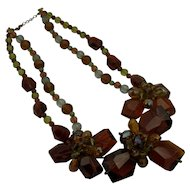 Amber Cut Glass Necklace with Amber Borealis Crystals