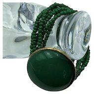 Vintage Green Beaded Bracelet