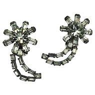 Fabulous, 1940/50 Rhinestone, half-Moon Clip Earrings.