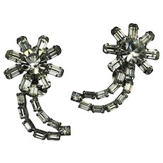 Fabulous, 1940/50 Rhinestone, half-Moon Clip Earrings.