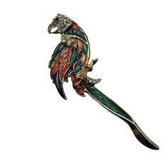 Vintage, Enamel and Pav'e  Parrot Brooch