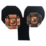 Vintage Renoir Copper Clip Earrings