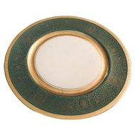 Vintage Edwardian Style 1910 Era Green and Gold Dinner Plate