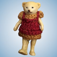"""Rare Antique All Bisque 2""""  Hertwig Bear Miniature German Hertwig Bear Original Crocheted Outfit"""
