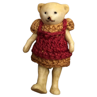"Rare Antique All Bisque 2""  Hertwig Bear Miniature German Hertwig Bear Original Crocheted Outfit"