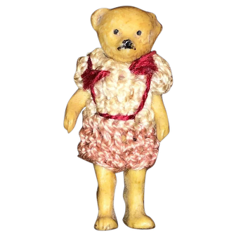 "Rare Antique All Bisque 1 1/4""  Hertwig Bear Miniature German Hertwig Bear Original Crocheted Outfit"