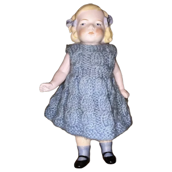 "Early Antique German 5"" Original Painted Eye Closed Mouth Hertwig Type German Bisque Doll Blue Dress"