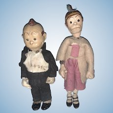 Early Antique Swiss Bucherer Maggie and Jiggs Large Head Comic Character 1920's Switzerland