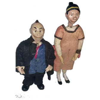 Early Antique SABA Swiss Bucherer Maggie and Jiggs Small Head Comic Character 1920's Switzerland