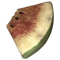 Early Vintage 1920's Stone Fruit Italian Alabaster Watermelon Slice Original Great Patina