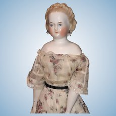"Early Antique German 12"" Original Blonde China Doll Original Dress Doll Rare Hairdo Earrings"