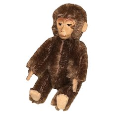 "Early Antique German 1920's Mohair 3"" Shuco Yes No Monkey Great Size NM+"