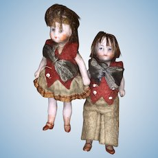 """Rare Antique All Bisque 2""""  Hertwig Miniature German Dollhouse Doll Pair All Original Outfits NM+"""