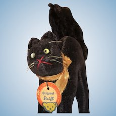 "Early 4"" Steiff Halloween Black Cat with Tag and Original Silver Button Fantastic"
