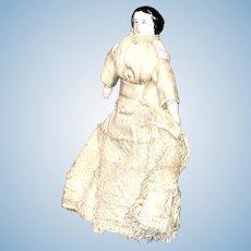 "Early Antique German 4"" Original China Doll Original Dress Dollhouse Doll NM+"